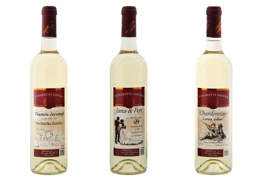 bílá vína s potiskem